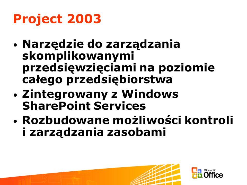 Project 2003 Narzędzie do zarządzania skomplikowanymi przedsięwzięciami na poziomie całego przedsiębiorstwa.