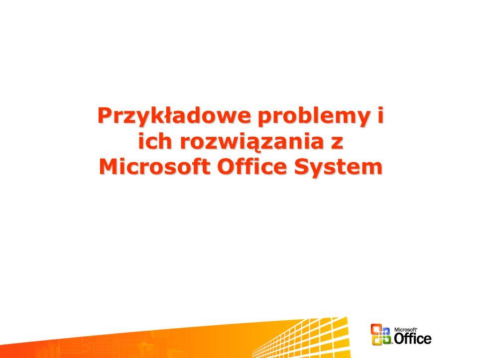 Przykładowe problemy i Microsoft Office System
