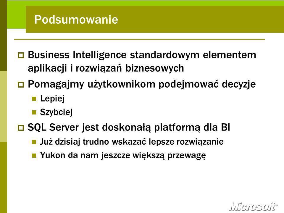 Podsumowanie Business Intelligence standardowym elementem aplikacji i rozwiązań biznesowych. Pomagajmy użytkownikom podejmować decyzje.
