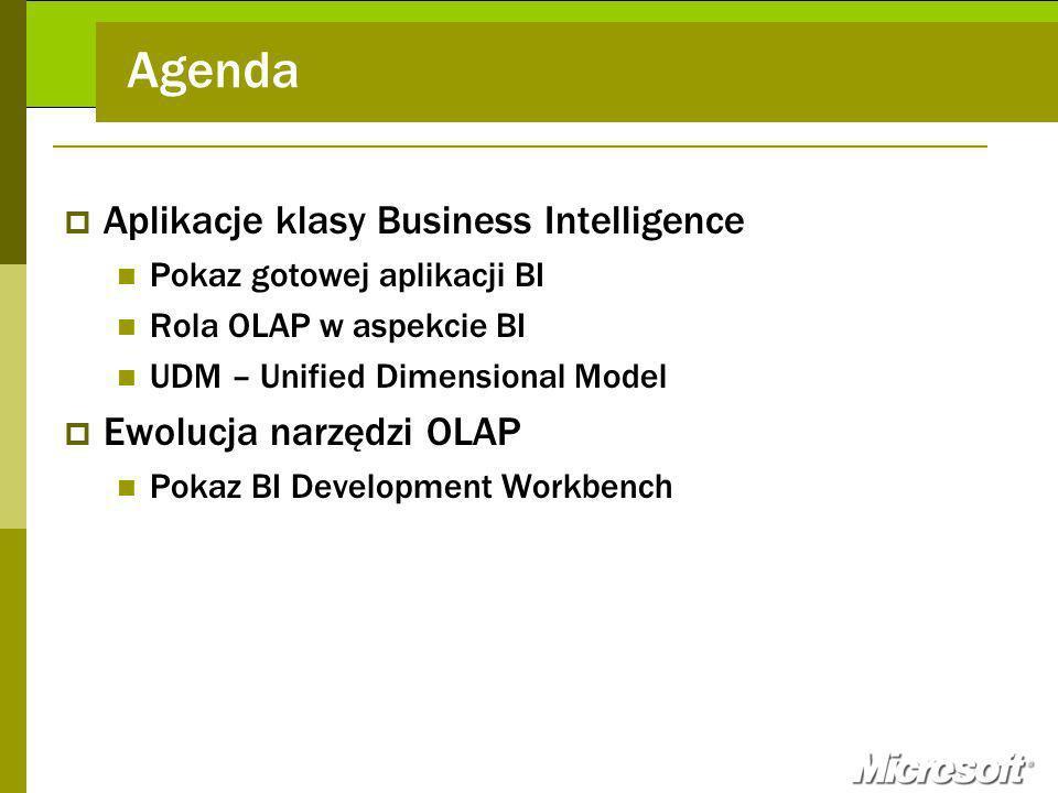 Agenda Aplikacje klasy Business Intelligence Ewolucja narzędzi OLAP