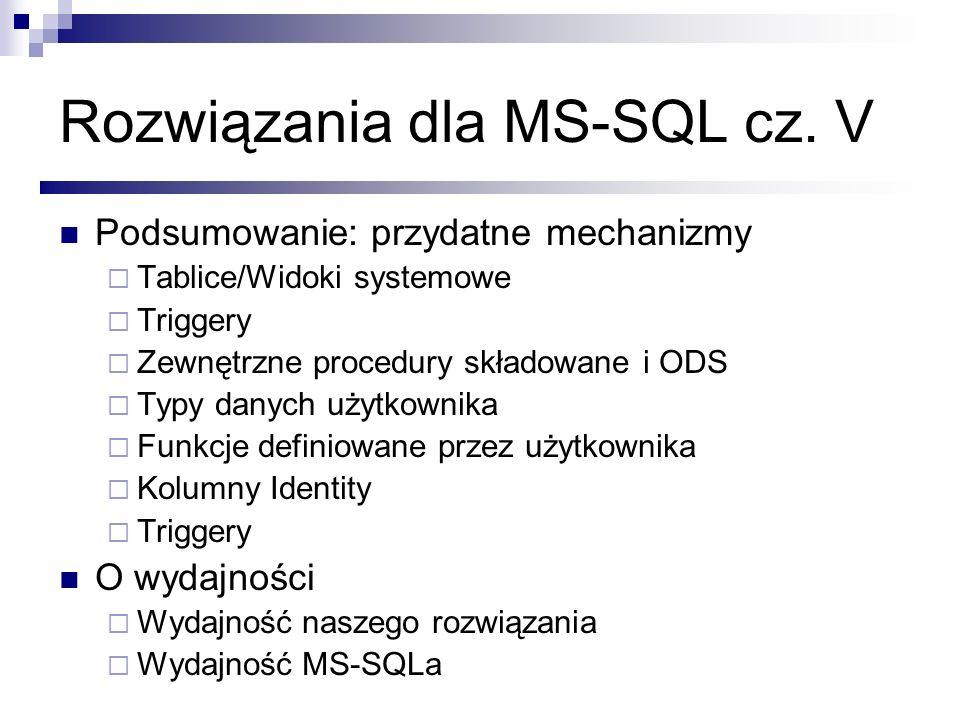 Rozwiązania dla MS-SQL cz. V