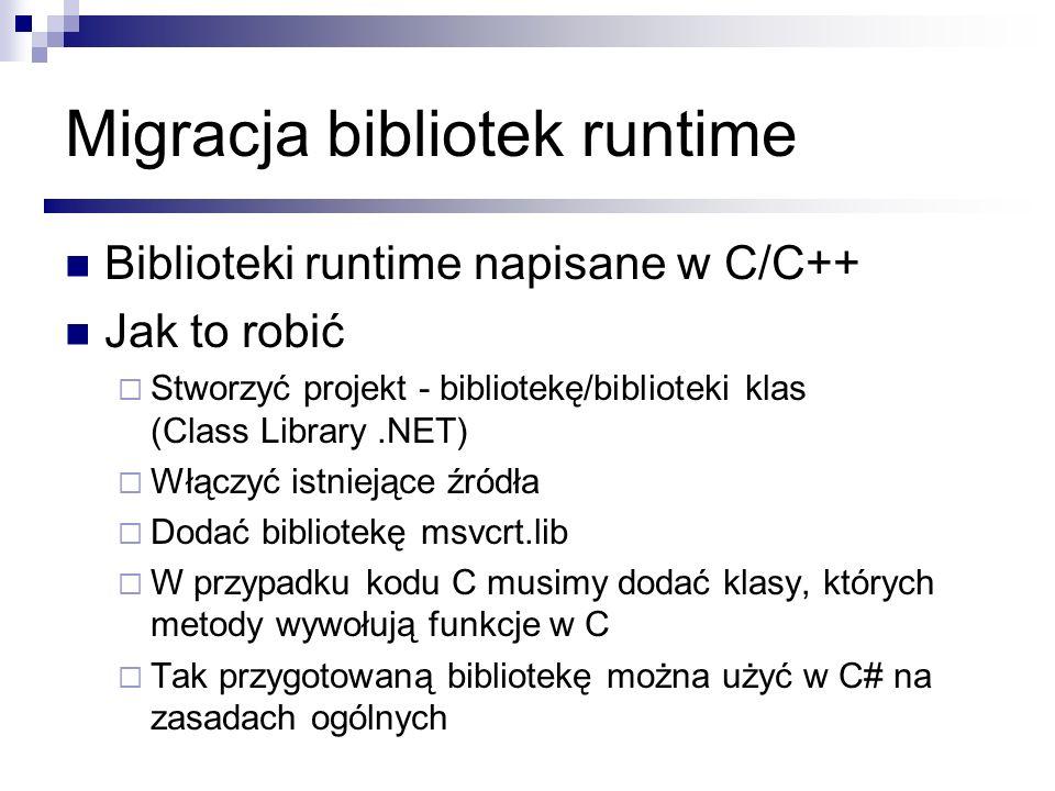 Migracja bibliotek runtime