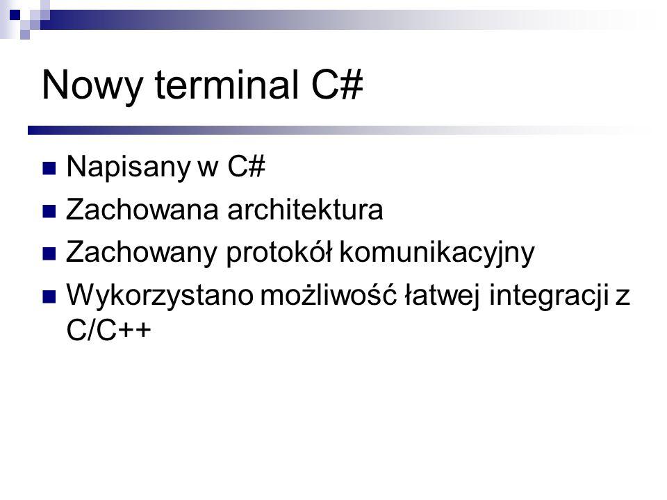 Nowy terminal C# Napisany w C# Zachowana architektura