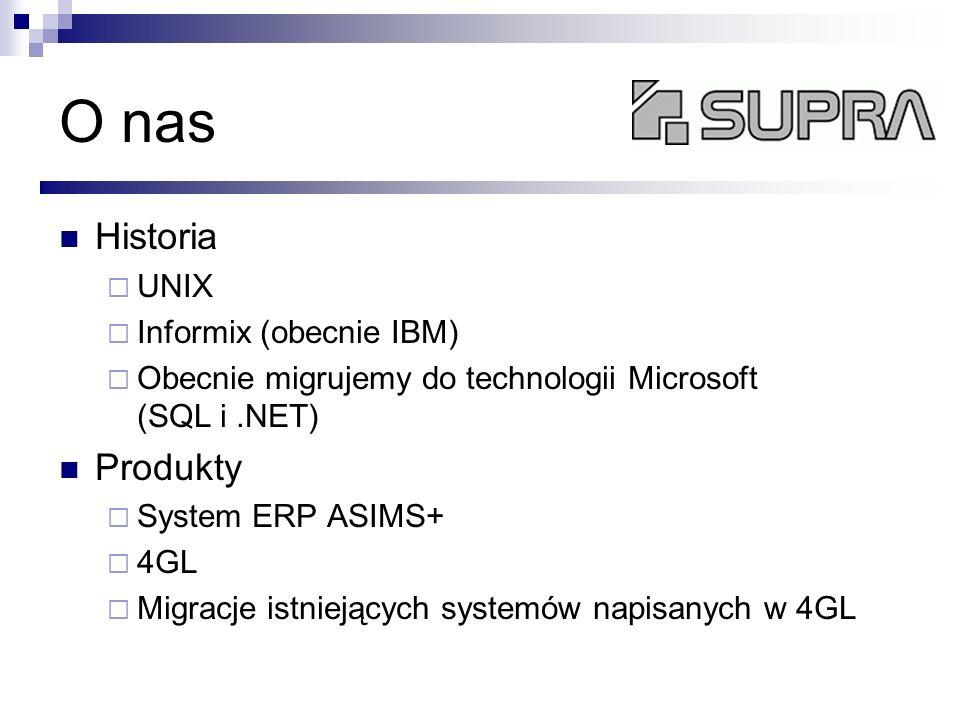 O nas Historia Produkty UNIX Informix (obecnie IBM)
