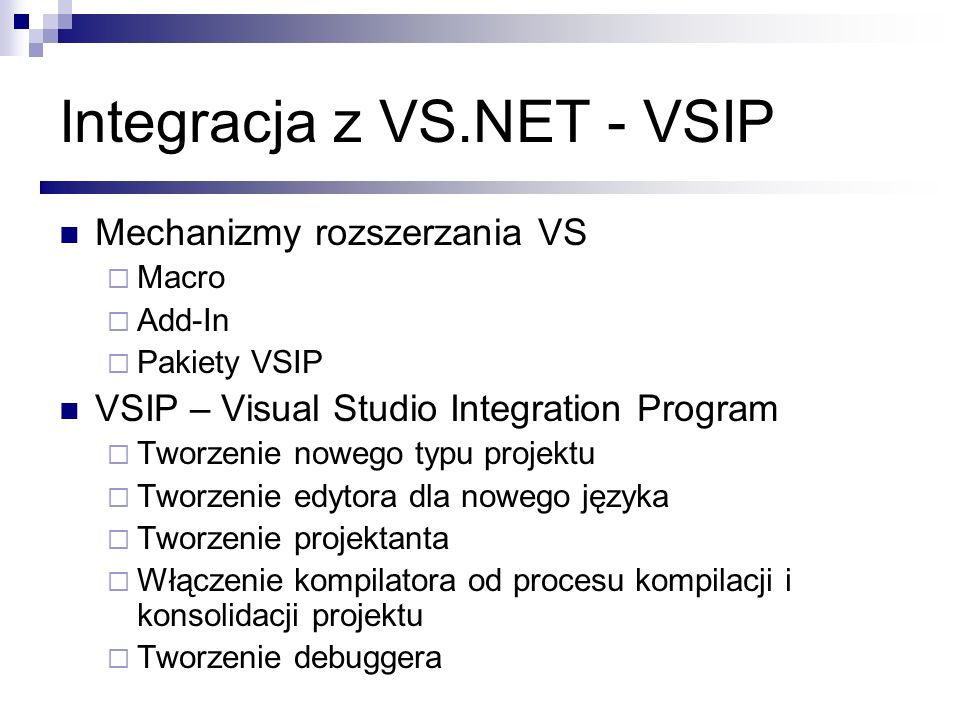 Integracja z VS.NET - VSIP