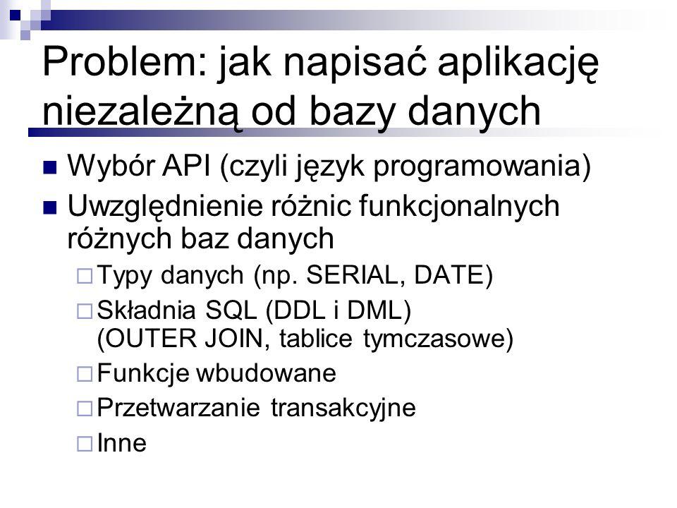 Problem: jak napisać aplikację niezależną od bazy danych