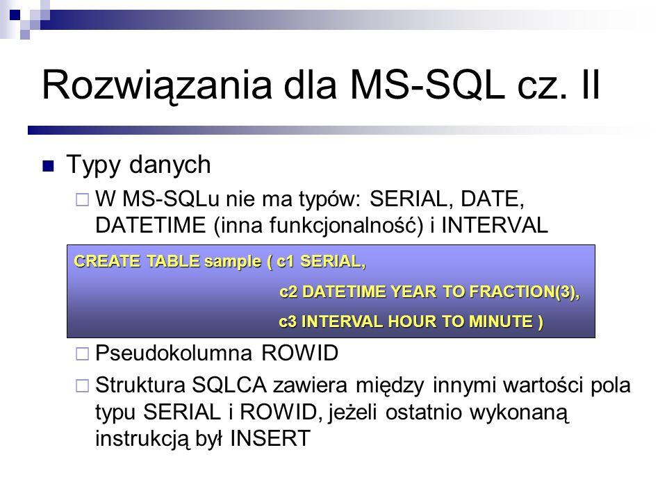 Rozwiązania dla MS-SQL cz. II