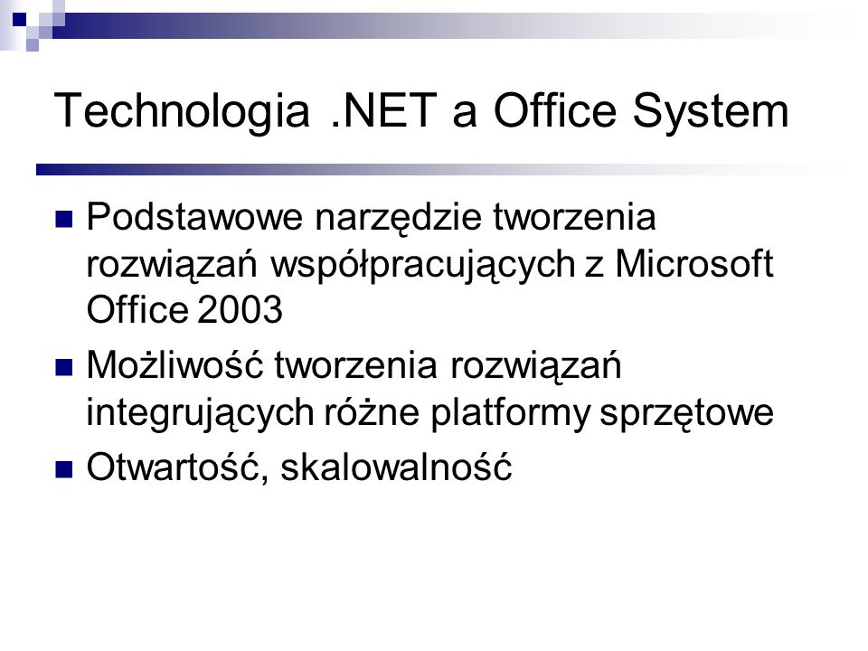 Technologia .NET a Office System