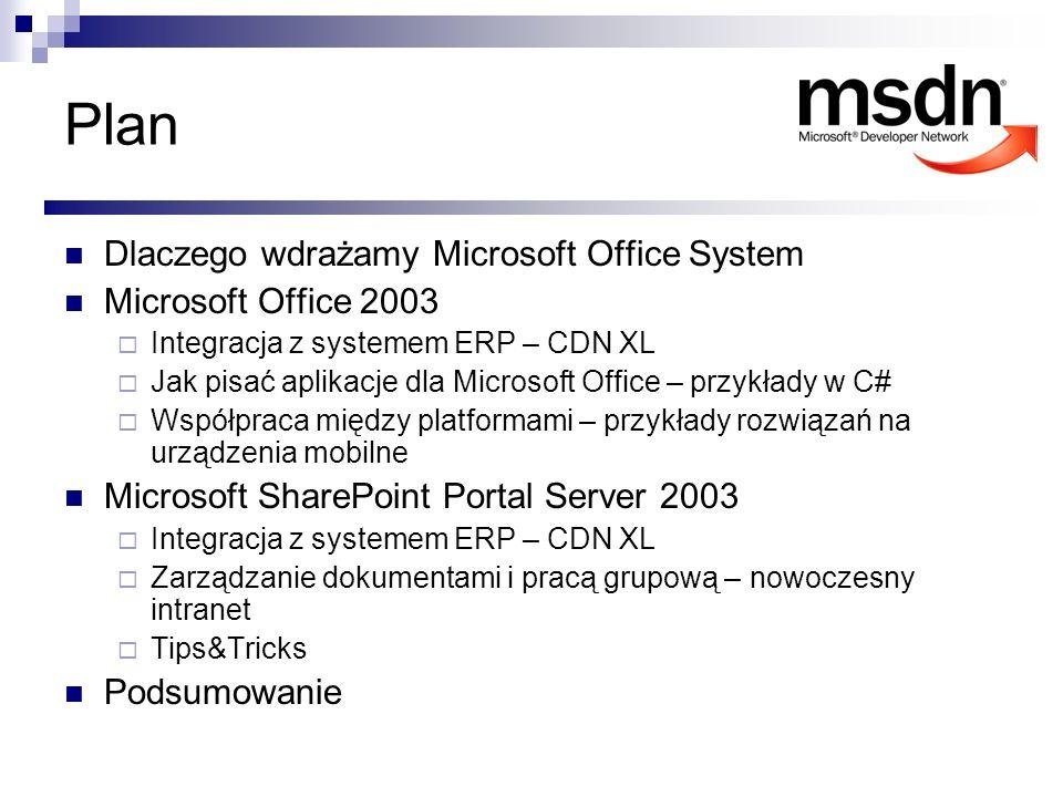 Plan Dlaczego wdrażamy Microsoft Office System Microsoft Office 2003