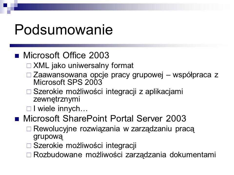 Podsumowanie Microsoft Office 2003