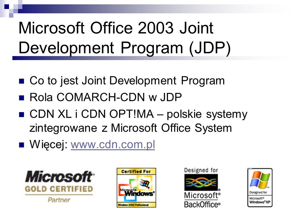 Microsoft Office 2003 Joint Development Program (JDP)