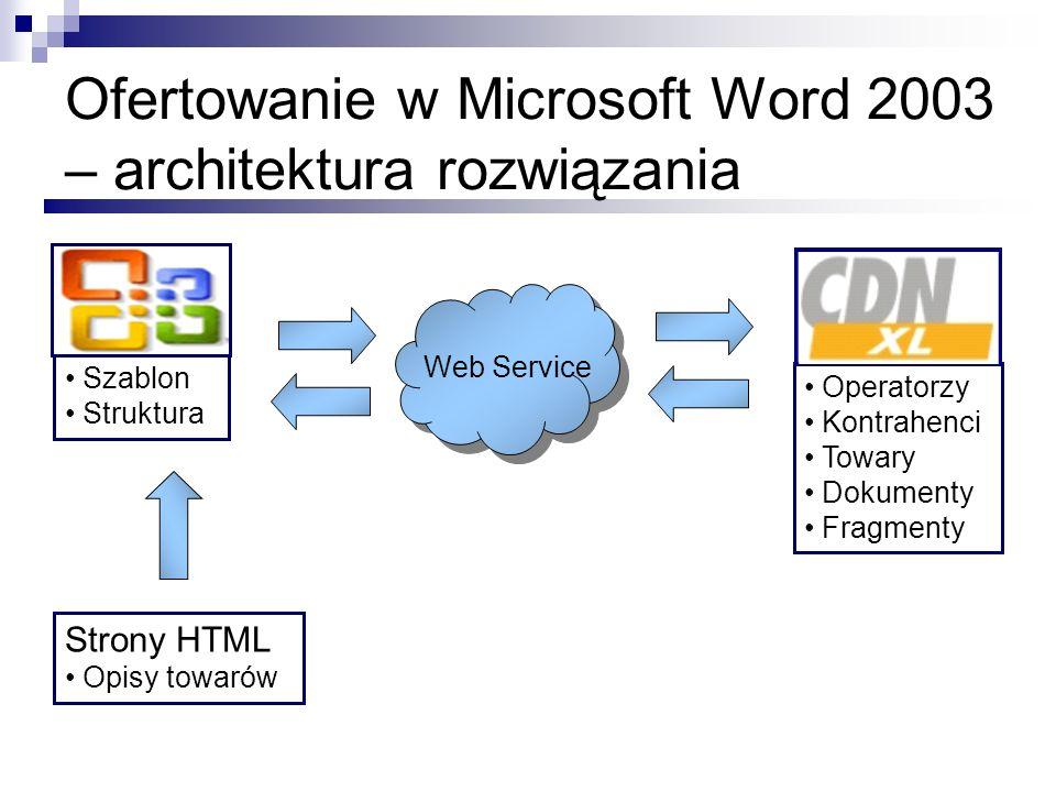Ofertowanie w Microsoft Word 2003 – architektura rozwiązania