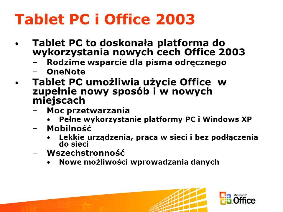 Tablet PC i Office 2003 Tablet PC to doskonała platforma do wykorzystania nowych cech Office 2003. Rodzime wsparcie dla pisma odręcznego.