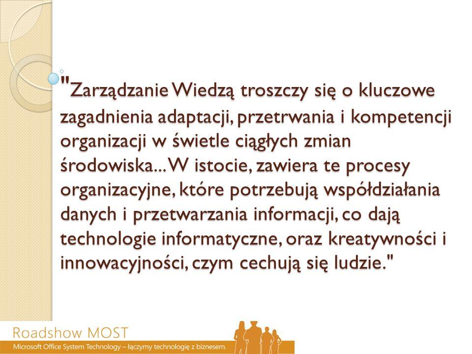 Zarządzanie Wiedzą troszczy się o kluczowe zagadnienia adaptacji, przetrwania i kompetencji organizacji w świetle ciągłych zmian środowiska...