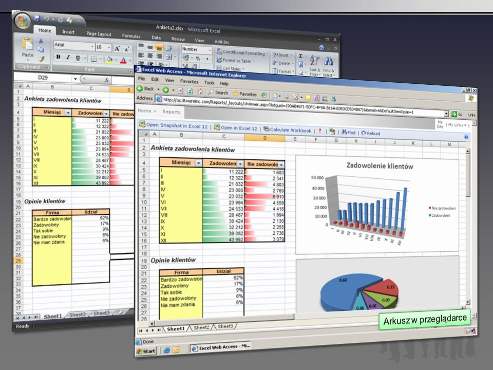 Arkusz w Excel'u Arkusz w przeglądarce