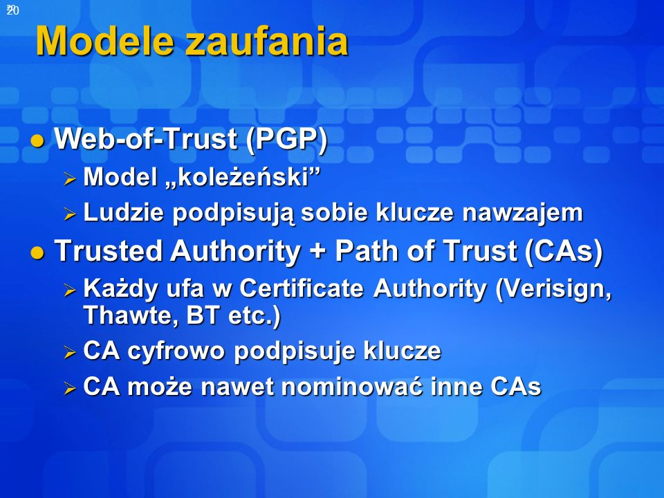 Modele zaufania Web-of-Trust (PGP)