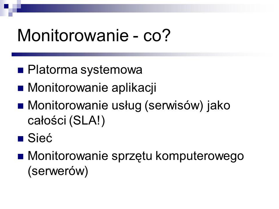 Monitorowanie - co Platorma systemowa Monitorowanie aplikacji