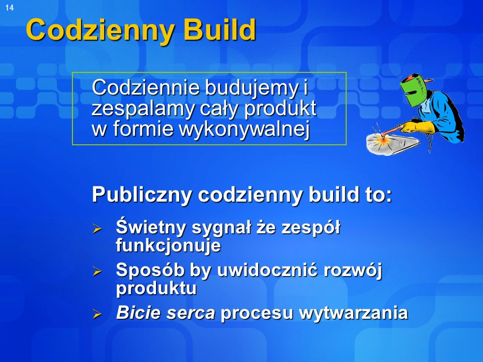 Codzienny Build Codziennie budujemy i zespalamy cały produkt w formie wykonywalnej. Publiczny codzienny build to: