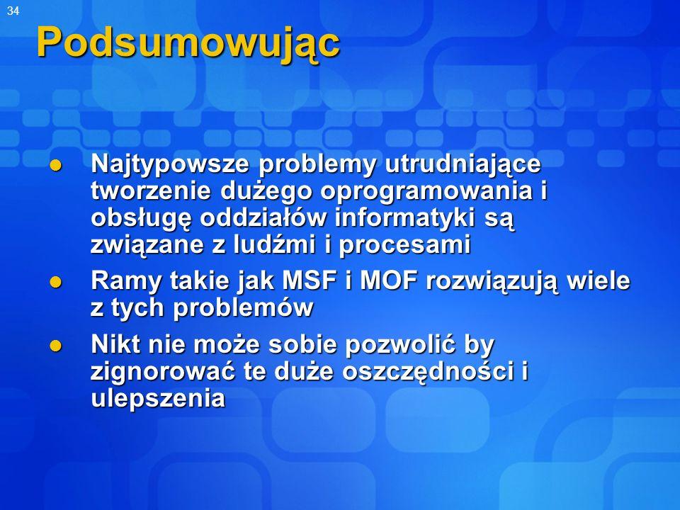 Podsumowując Najtypowsze problemy utrudniające tworzenie dużego oprogramowania i obsługę oddziałów informatyki są związane z ludźmi i procesami.