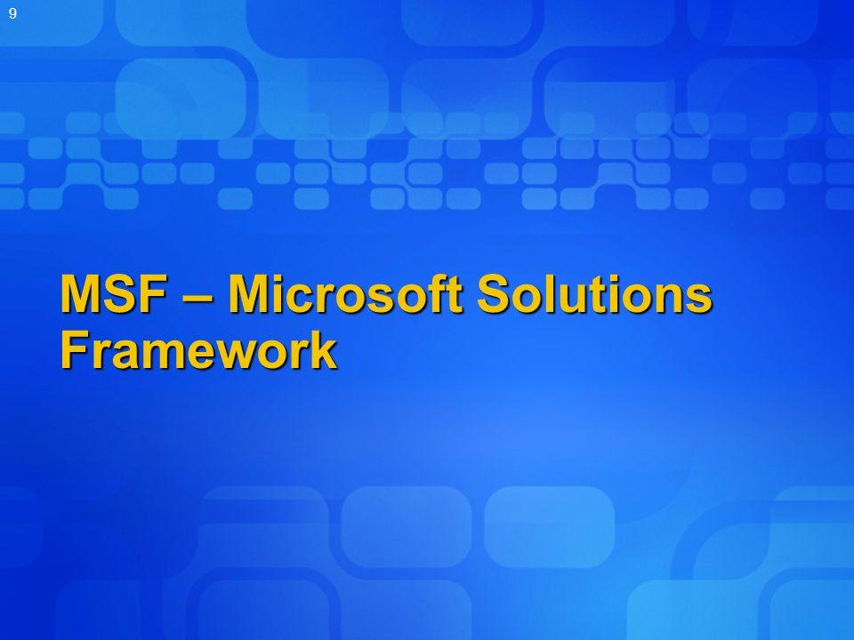 MSF – Microsoft Solutions Framework