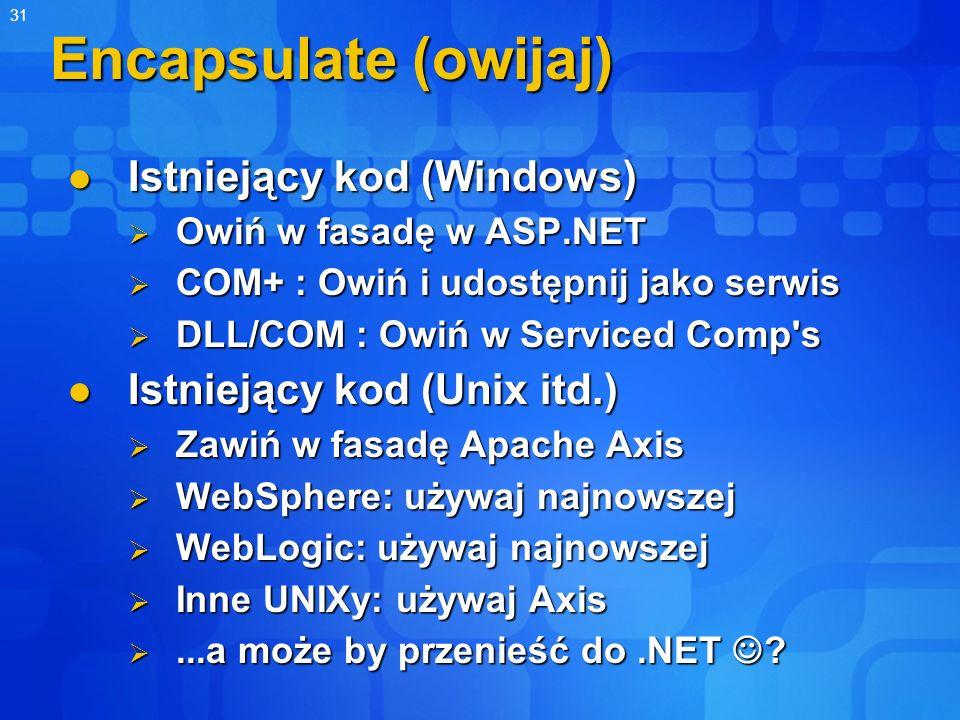 Encapsulate (owijaj) Istniejący kod (Windows)