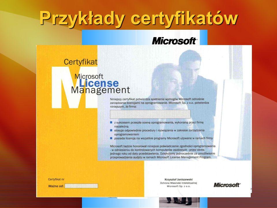Przykłady certyfikatów