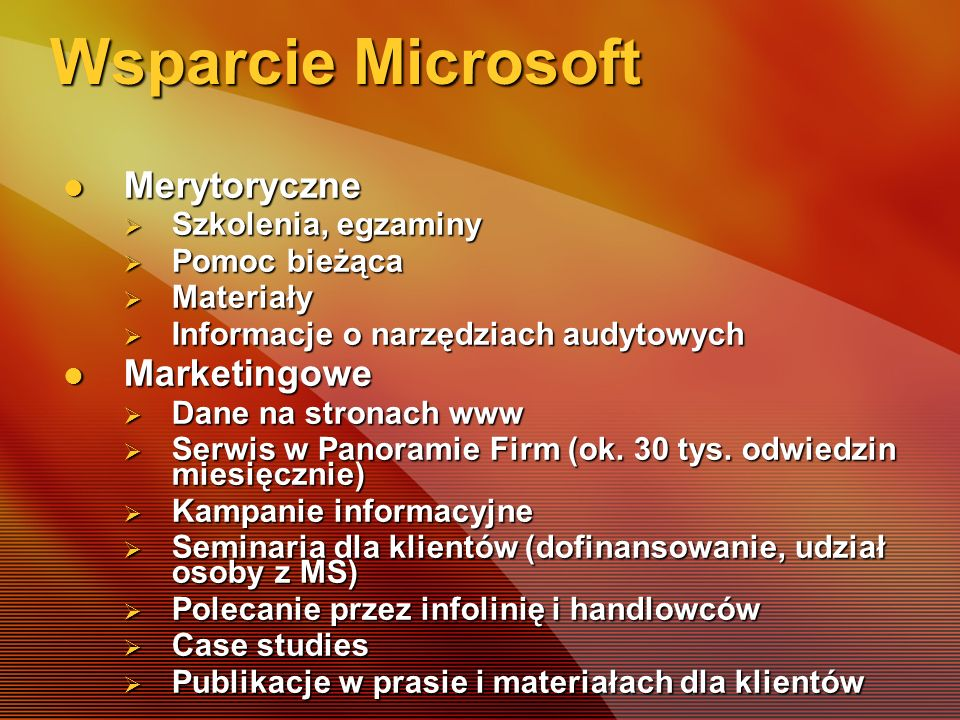 Wsparcie Microsoft Merytoryczne Marketingowe Szkolenia, egzaminy