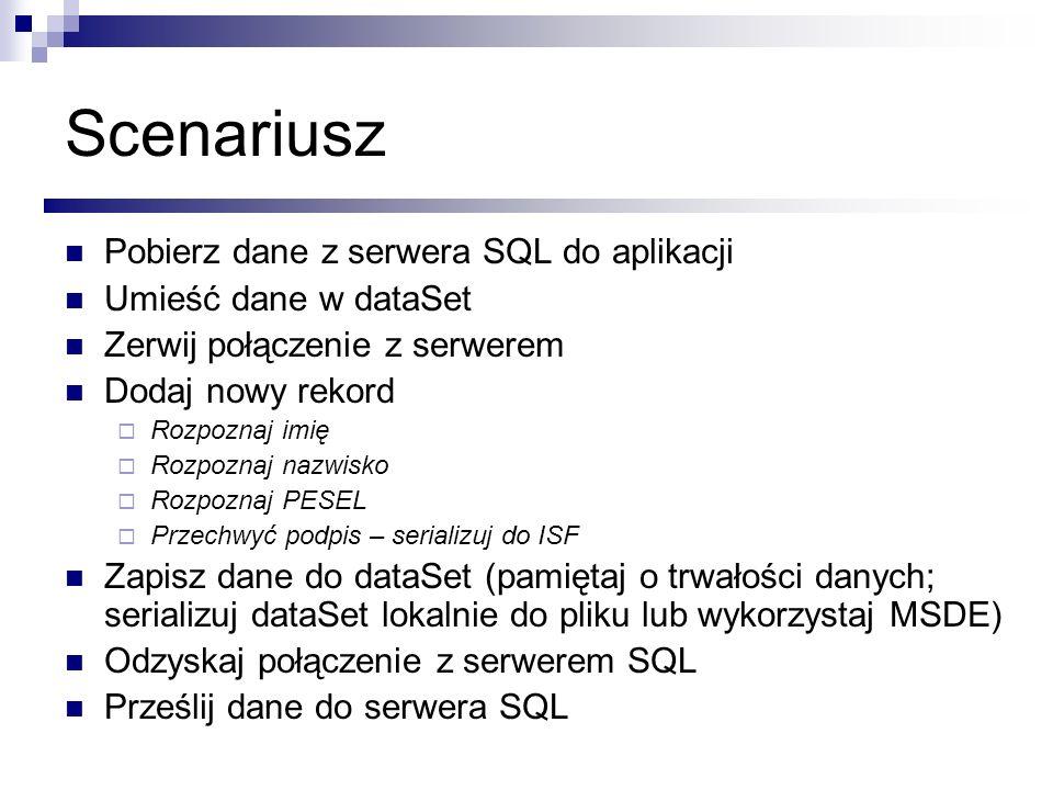 Scenariusz Pobierz dane z serwera SQL do aplikacji