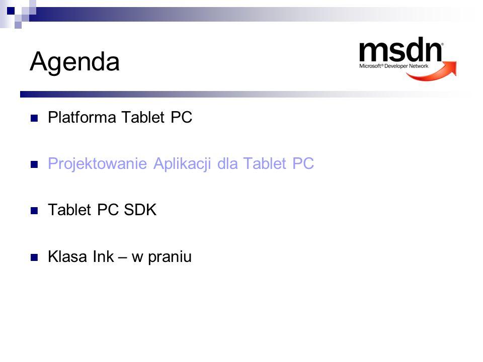 Agenda Platforma Tablet PC Projektowanie Aplikacji dla Tablet PC