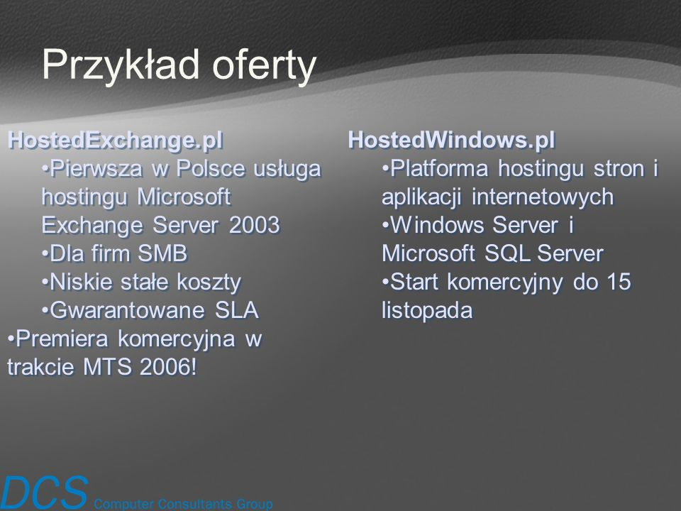 Przykład oferty HostedExchange.pl