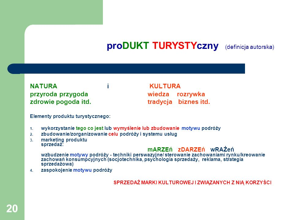 proDUKT TURYSTYczny (definicja autorska)
