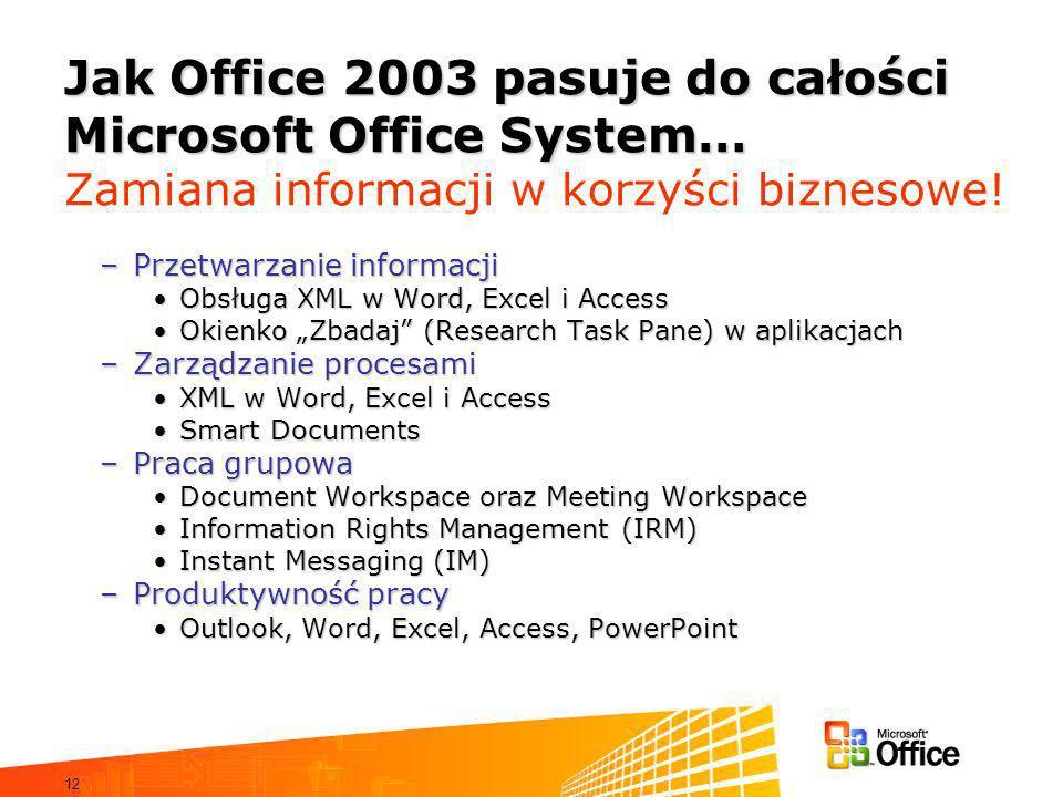 Jak Office 2003 pasuje do całości Microsoft Office System… Zamiana informacji w korzyści biznesowe!