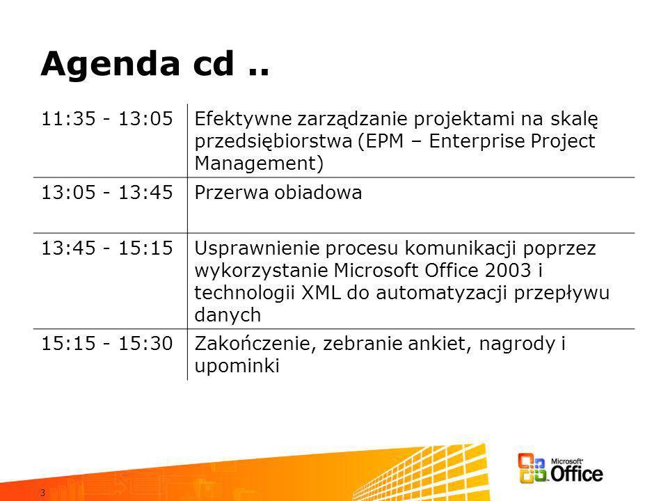 Agenda cd .. 11:35 - 13:05. Efektywne zarządzanie projektami na skalę przedsiębiorstwa (EPM – Enterprise Project Management)