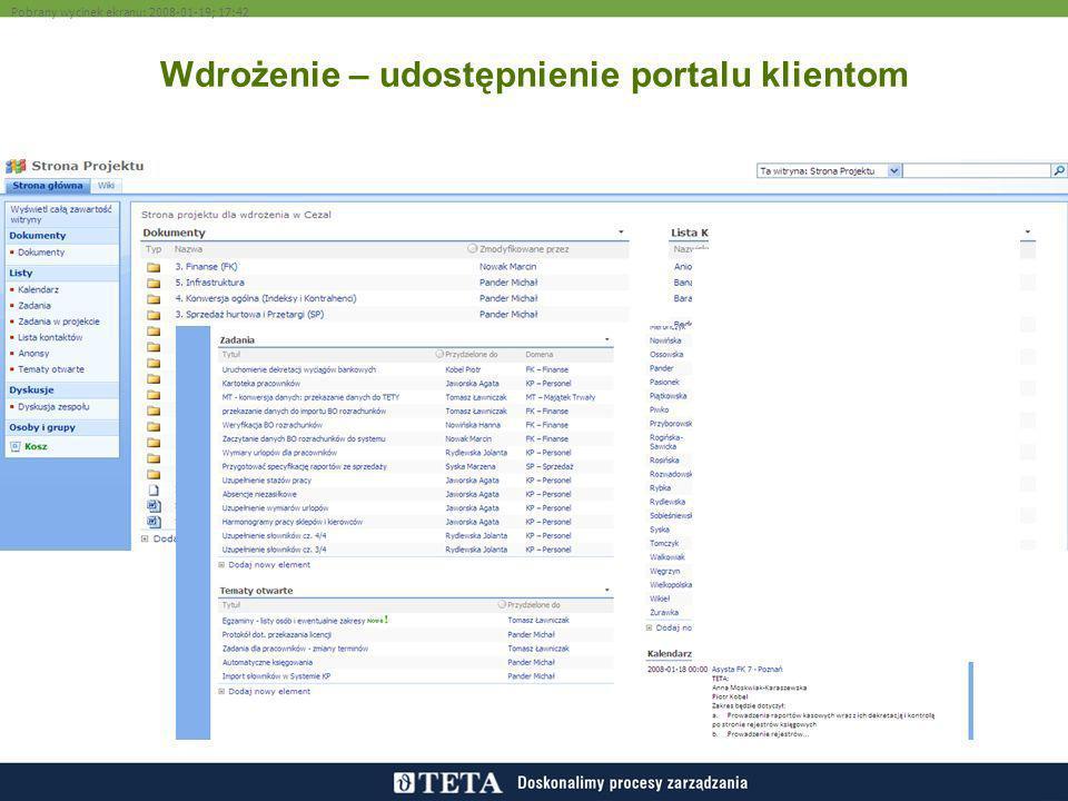 Wdrożenie – udostępnienie portalu klientom