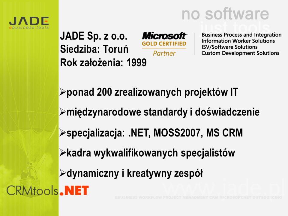 JADE Sp. z o.o. Siedziba: Toruń. Rok założenia: 1999. ponad 200 zrealizowanych projektów IT. międzynarodowe standardy i doświadczenie.