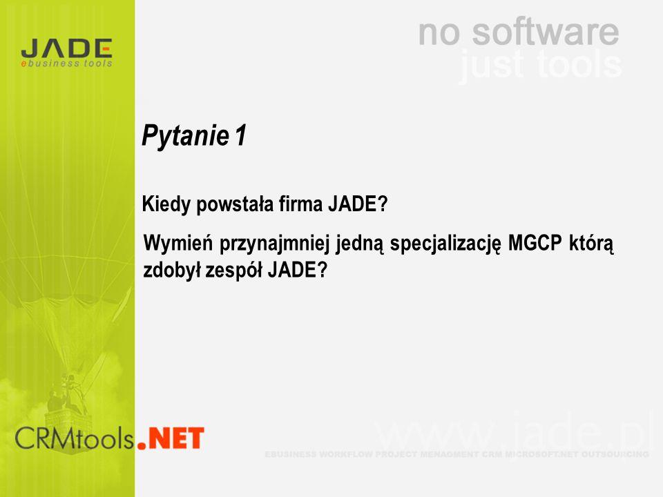 Pytanie 1 Kiedy powstała firma JADE