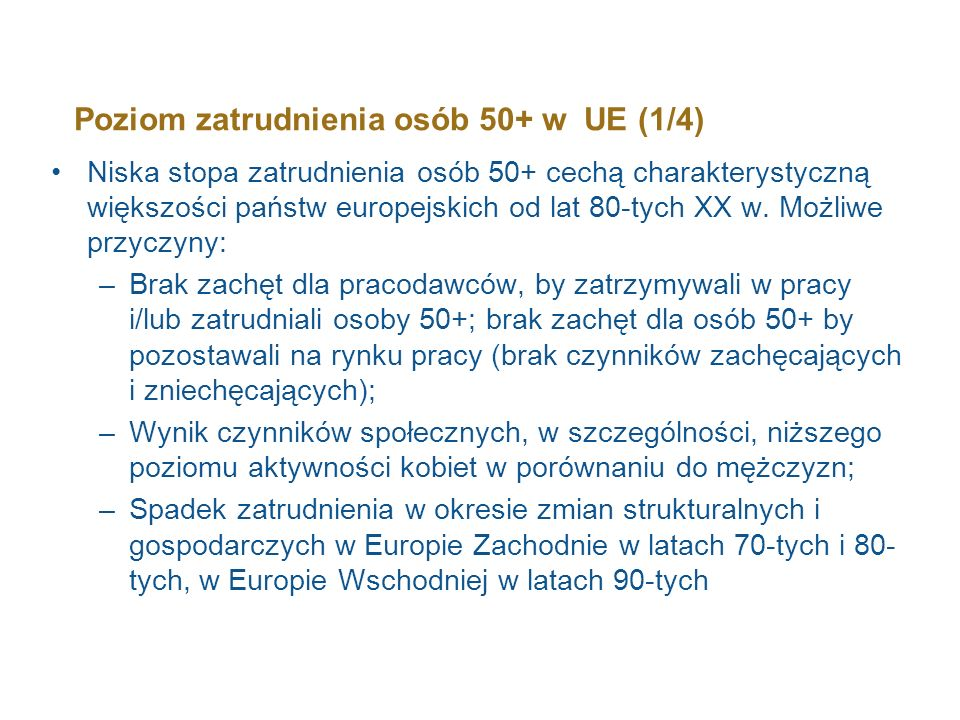 Poziom zatrudnienia osób 50+ w UE (1/4)