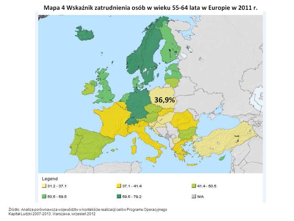 Źródło: Analiza porównawcza województw w kontekście realizacji celów Programu Operacyjnego Kapitał Ludzki 2007-2013, Warszawa, wrzesień 2012