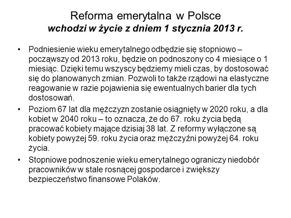 Reforma emerytalna w Polsce wchodzi w życie z dniem 1 stycznia 2013 r.