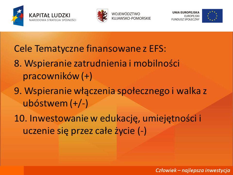 Cele Tematyczne finansowane z EFS: 8