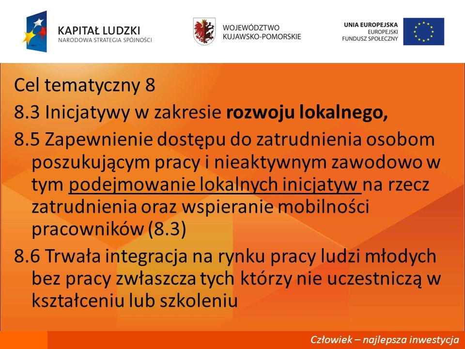 Cel tematyczny 8 8. 3 Inicjatywy w zakresie rozwoju lokalnego, 8