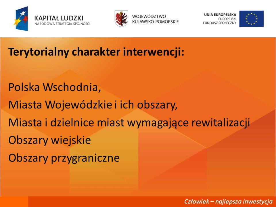 Terytorialny charakter interwencji: Polska Wschodnia, Miasta Wojewódzkie i ich obszary, Miasta i dzielnice miast wymagające rewitalizacji Obszary wiejskie Obszary przygraniczne