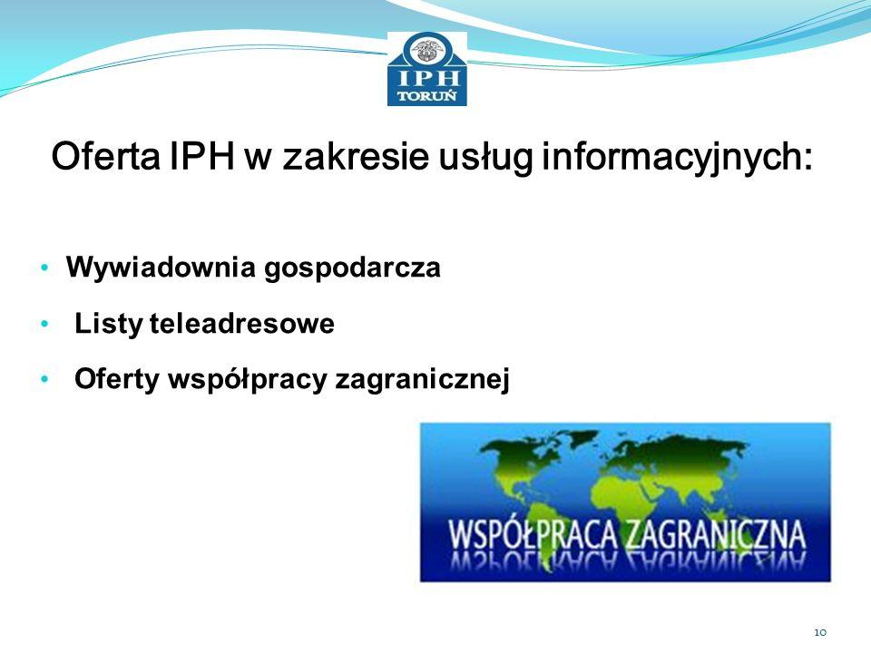 Oferta IPH w zakresie usług informacyjnych: