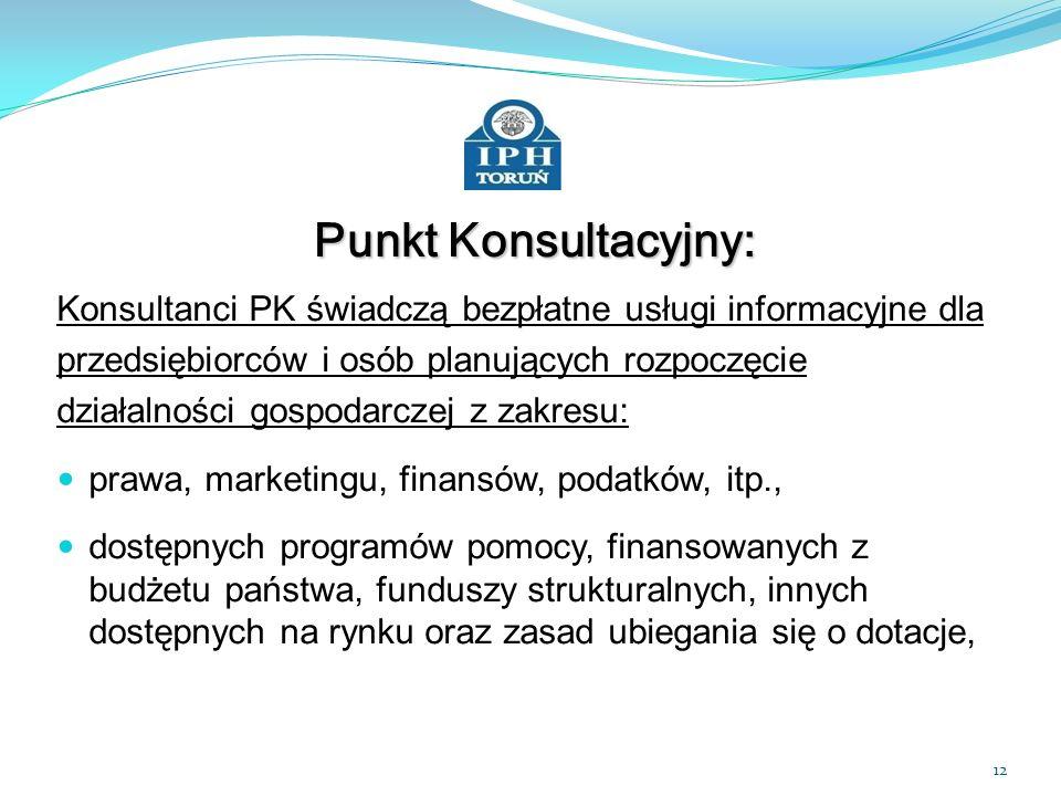 Punkt Konsultacyjny: Konsultanci PK świadczą bezpłatne usługi informacyjne dla. przedsiębiorców i osób planujących rozpoczęcie.