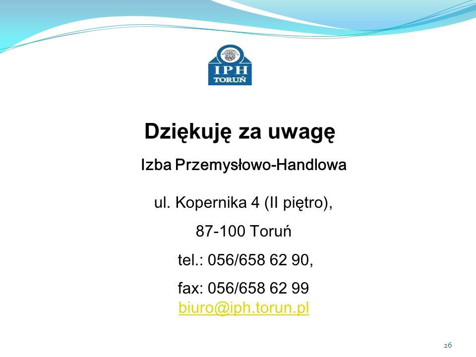 Dziękuję za uwagę Izba Przemysłowo-Handlowa ul. Kopernika 4 (II piętro), 87-100 Toruń. tel.: 056/658 62 90,