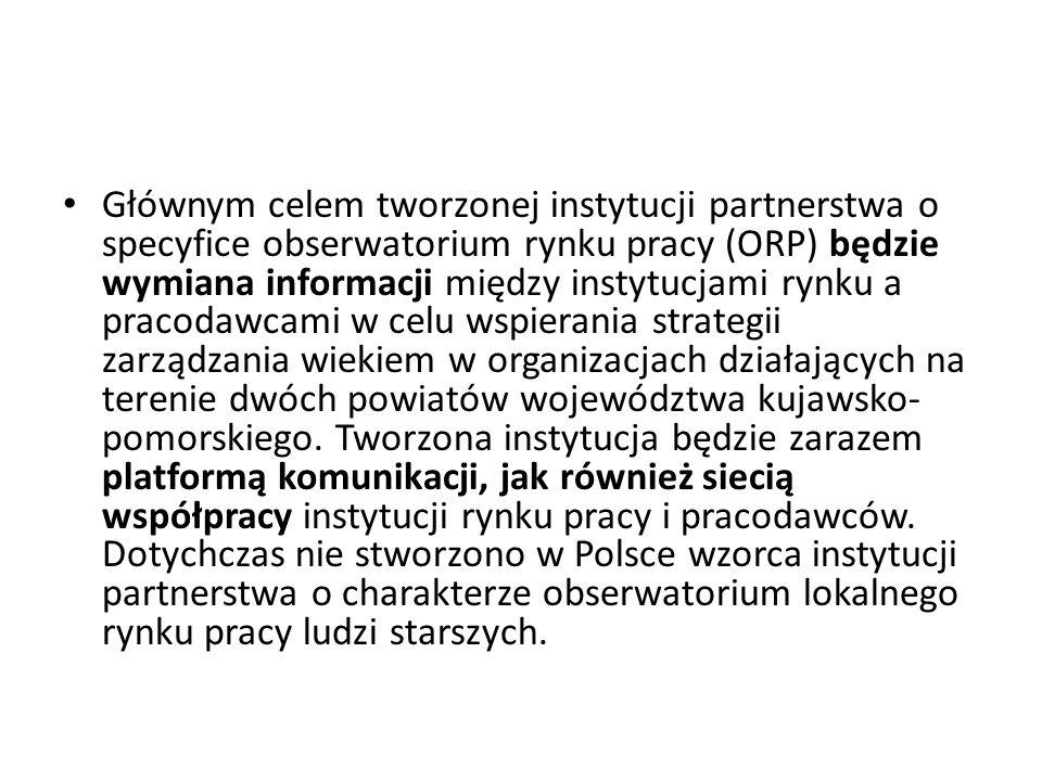 Głównym celem tworzonej instytucji partnerstwa o specyfice obserwatorium rynku pracy (ORP) będzie wymiana informacji między instytucjami rynku a pracodawcami w celu wspierania strategii zarządzania wiekiem w organizacjach działających na terenie dwóch powiatów województwa kujawsko-pomorskiego.