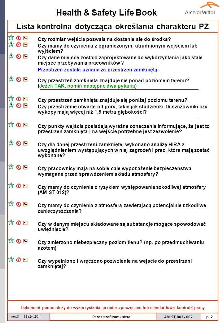 Lista kontrolna dotycząca określania charakteru PZ