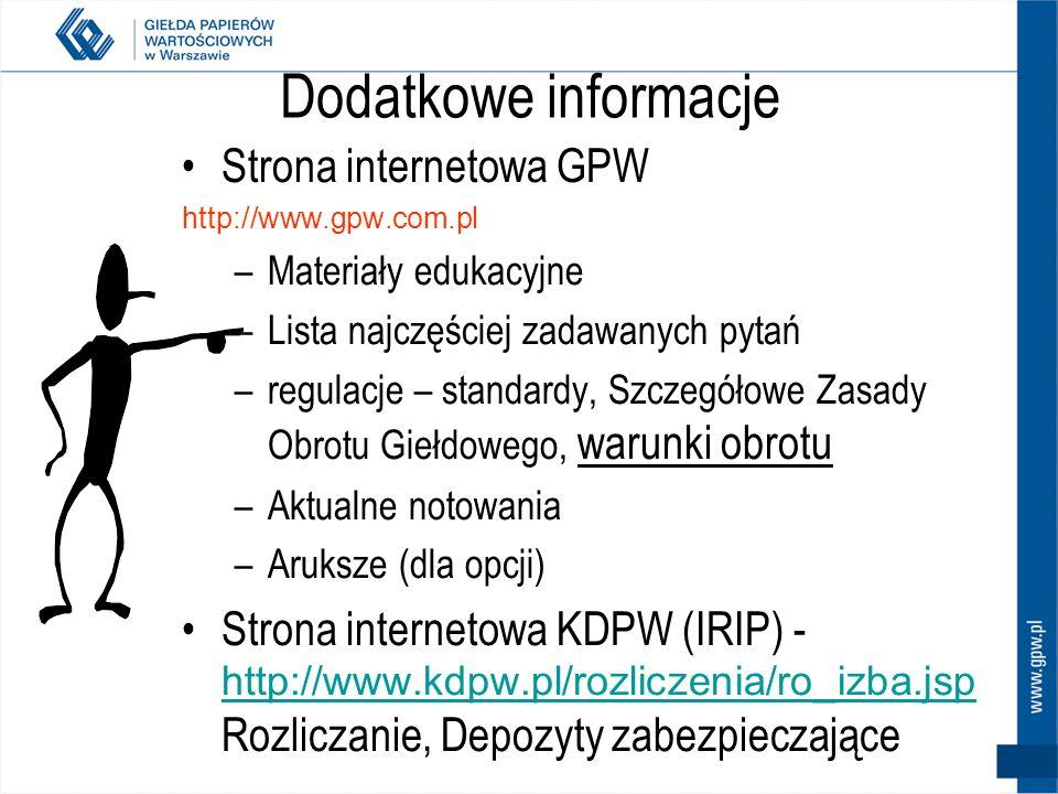 Dodatkowe informacje Strona internetowa GPW