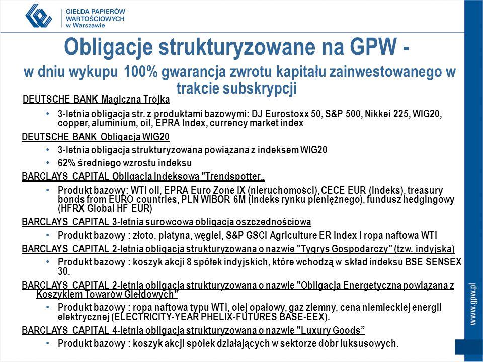 Obligacje strukturyzowane na GPW - w dniu wykupu 100% gwarancja zwrotu kapitału zainwestowanego w trakcie subskrypcji