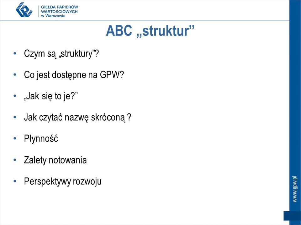 """ABC """"struktur Czym są """"struktury Co jest dostępne na GPW"""